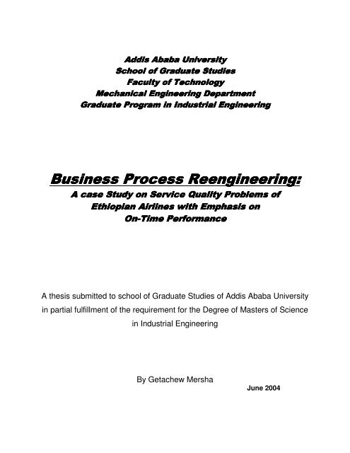 Business Process Reengineering - Addis Ababa University