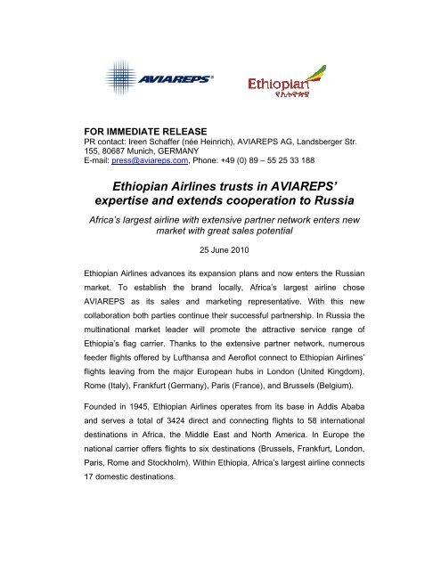 Ethiopian Airlines trusts in AVIAREPS - AVIAREPS Tourism