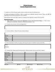 Etihad Airways Vendor Registration Form