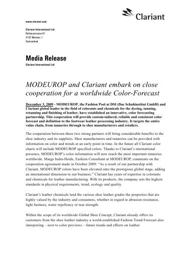 Media Release MODEUROP and Clariant embark on close ...