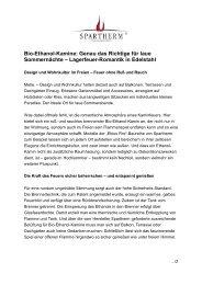 Bio-Ethanol-Kamine: Genau das Richtige für laue ... - Spartherm