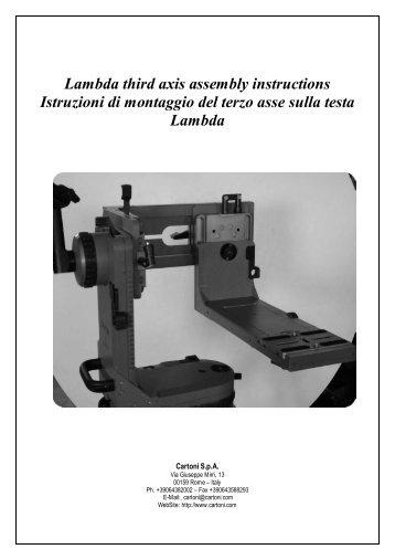 Lambda third axis assembly instructions Istruzioni di montaggio del ...
