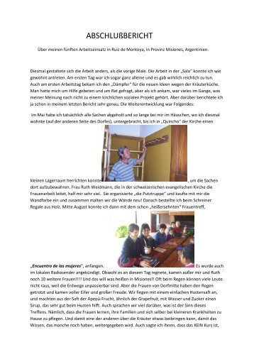 bitte lesen Sie den Abschlussbericht von Arja Siegloch