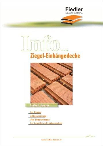 Info Ziegel-Einhängedecke - Fiedler Deckensysteme