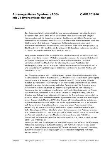 Adrenogenitales Syndrom (AGS) OMIM 201910 mit 21 ... - IMD-Lab