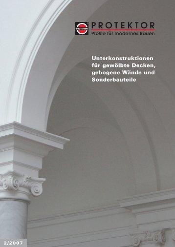 Unterkonstruktionen für gewölbte Decken, gebogene ... - Protektor