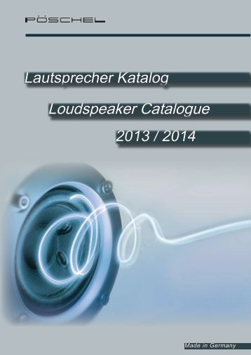 Loudspeaker Catalogue - Fritz Pöschel ETG