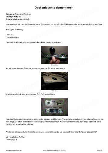 Deckenleuchte demontieren - Peugeotforum