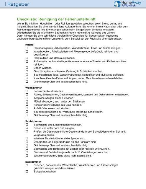 Bevorzugt Checkliste: Reinigung der Ferienunterkunft - FeWo-direkt MA67