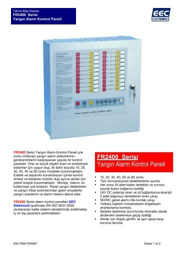 Yangın Alarm Kontrol Paneli - EEC Electronics