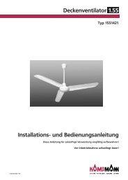 Installations- und Bedienungsanleitung Deckenventilator 1.55