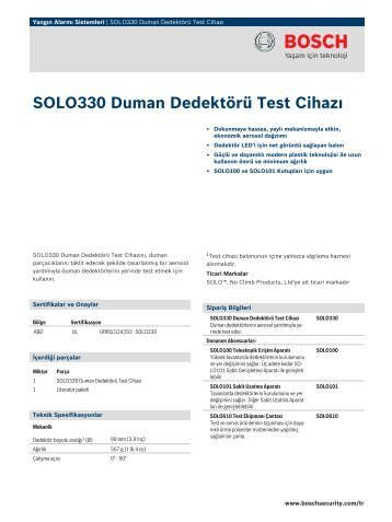 SOLO330 Duman Dedektörü Test Cihazı - Bosch Security Systems
