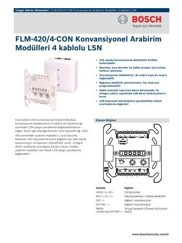 FLM‑420/4‑CON Konvansiyonel Arabirim - Bosch Security Systems