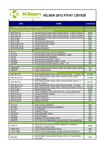 KİLSEN 2012 FİYAT LİSTESİ - Online-alarm güvenlik sistemleri