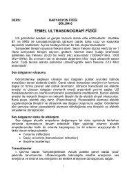 TEMEL ULTRASONOGRAFİ FİZİĞİ - Tıbbi Görüntüleme Teknikleri