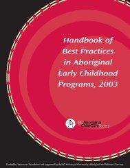 Handbook of Best Practices - (BC) Aboriginal Child Care Society