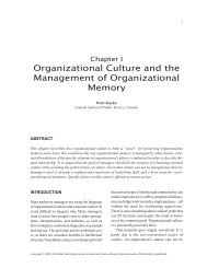 Organizational Culture and the Management of Organizational ...