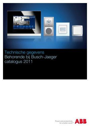 Technische gegevens Behorende bij Busch-Jaeger catalogus 2011