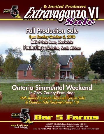 Fall Production Sale - Bar 5 Stock Farms Ltd.