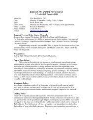 1 BIOLOGY 571, ANIMAL PHYSIOLOGY 3 Credits, Fall Quarter ...