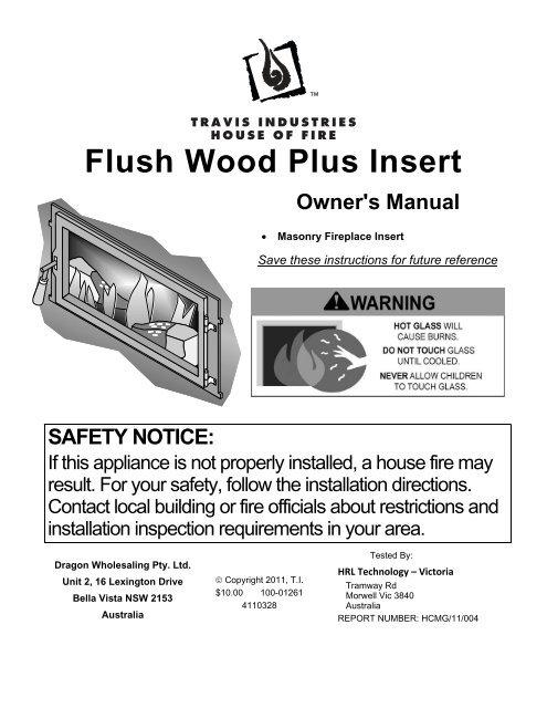 Flush Wood Plus Insert Owner S Manual Lopi Fireplaces