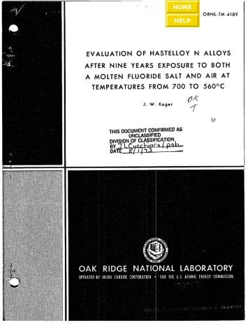 Evaluation of hastelloy N alloys after nine years exposure to both a ...