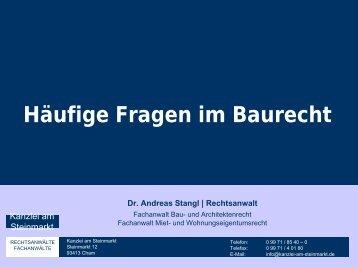 Häufige Fragen im Baurecht (Stand 2012) - Kanzlei am Steinmarkt