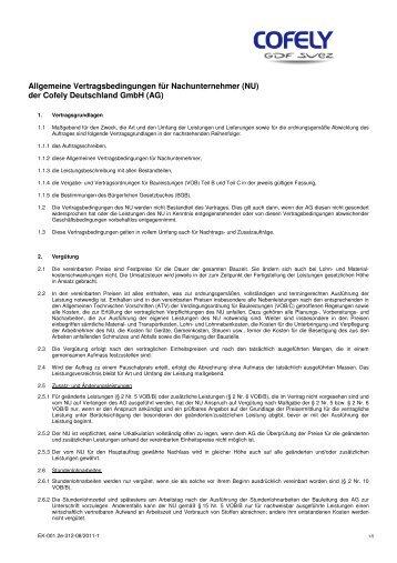 Allgemeine Vertragsbedingungen für Nachunternehmer - Cofely