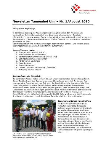 Newsletter Tannenhof Ulm – Nr. 1/August 2010 - LWV ...