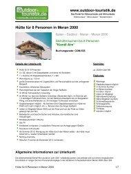 Hütte für 8 Personen in Meran 2000 - Outdoor-Touristik