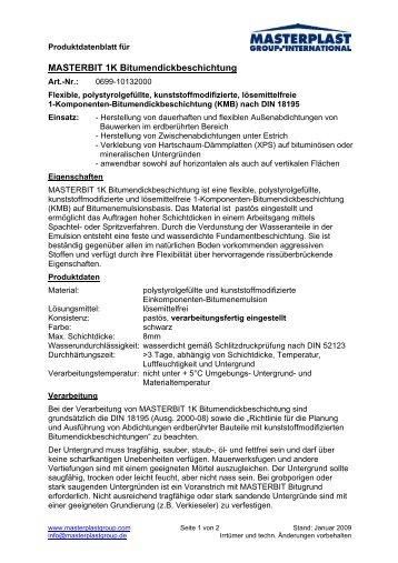 MASTERBIT 1K Bitumendickbeschichtung - Masterplast