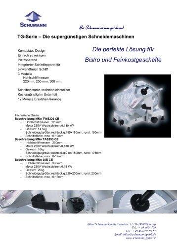 Aufschnittmaschine TG - Schumann GmbH