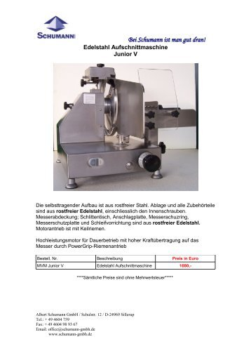 Edelstahl Aufschnittmaschine - Schumann GmbH