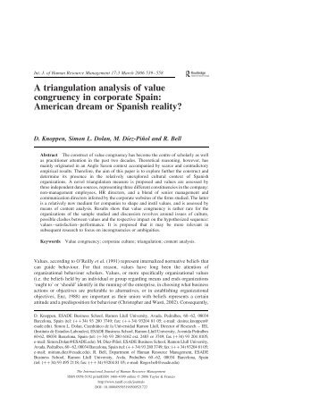 A triangulation analysis of value congruency in corporate Spain ...