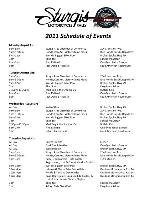 2011 schedule of events sturgis motorcycle rally yumpu