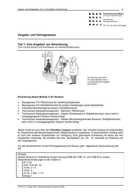 Vergabe Und Vertragswesen Teil 1 Fh Mainz