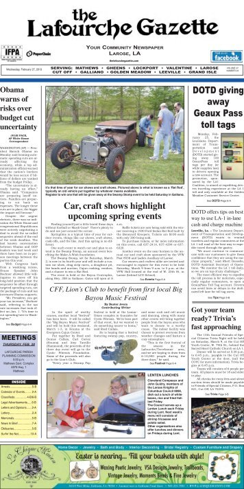 Wednesday, February 27,2013 - The Lafourche Gazette