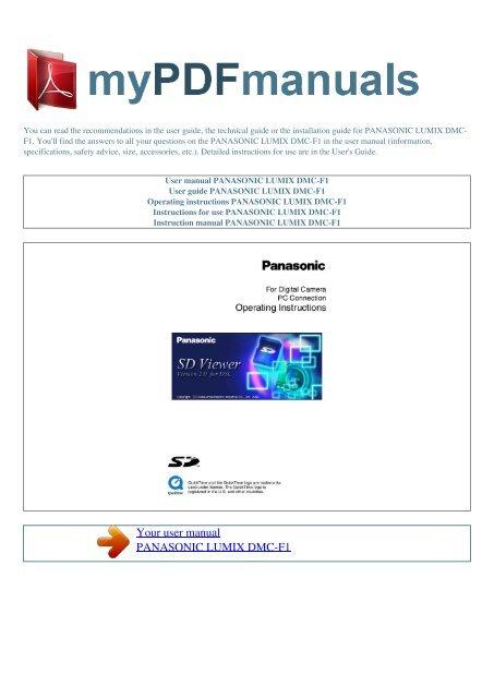 User manual PANASONIC LUMIX DMC-F1 - MY PDF MANUALS