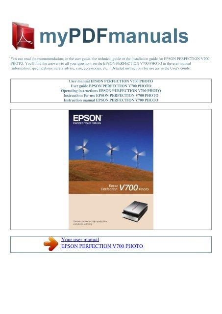 epson perfection v700 manual