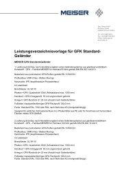 Leistungsverzeichnisvorlage für GFK Standard- Geländer - MEISER
