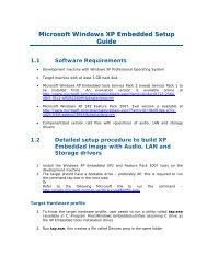 Microsoft Windows XP Embedded Setup Guide 1.1 Software - Intel
