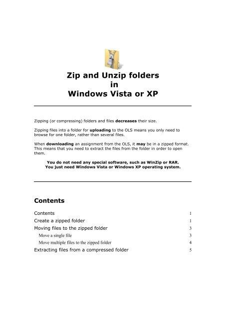 Creating a zipped file in Windows XP Professional - Oten - TAFE NSW
