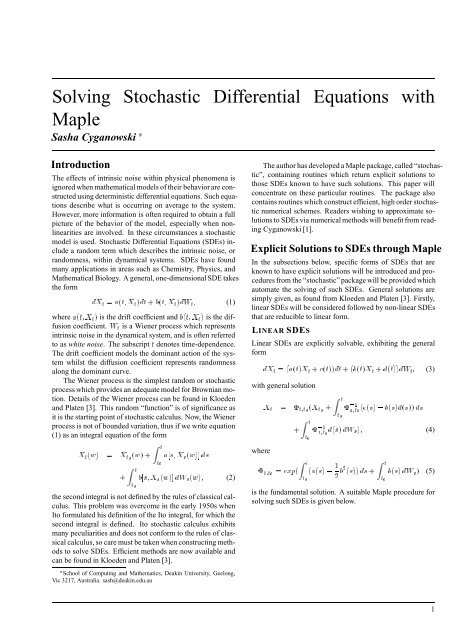 Solving Stochastic Differential Equations with Maple