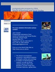 UEA Postgraduate Prospectus 2004: Economic and Social Studies