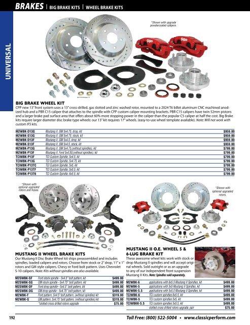 "Mustang II 11/"" Big Disc Brake Rotors CHEVY 5 x 4.75 Bolt w// Bearing /& Seal Kit"