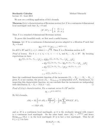 Stochastic Calculus Michael Tehranchi Lecture 15 - Lent 2013 We ...