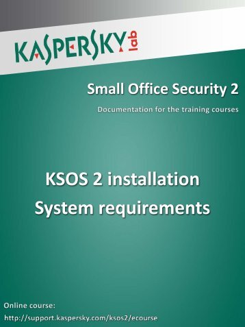 KSOS 2 installation System requirements