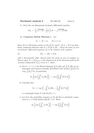 Stochastic analysis I