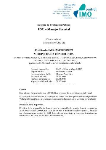 FSC – Manejo Forestal - IMO