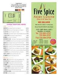 Print Menu - Five Spice Asian Cuisine